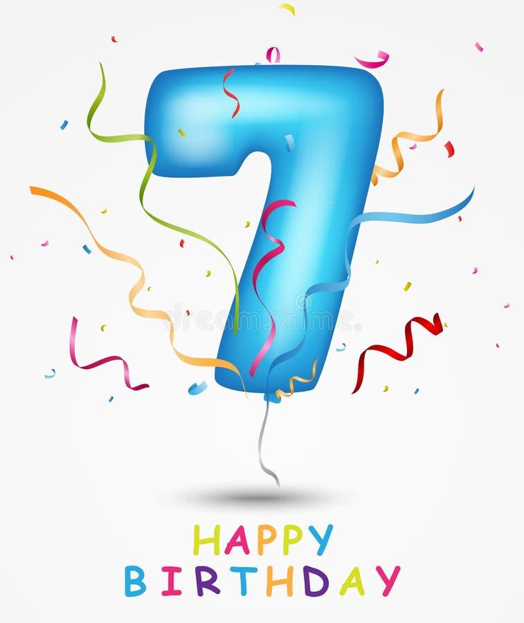 Lycklig födelsedag, berömhälsningkort med nummer och text vektor illustrationer