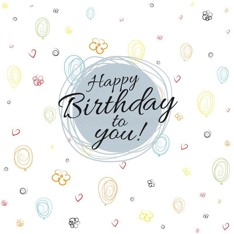 Lycklig födelsedag för baner på sömlös bakgrund av ballonger, hjärtor, blommor, spiral som drar den plana bakgrundsvektorn vektor illustrationer