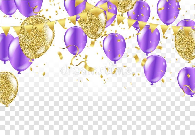 Lycklig födelsedag för färgrika ballonger på bakgrund vektor royaltyfri illustrationer