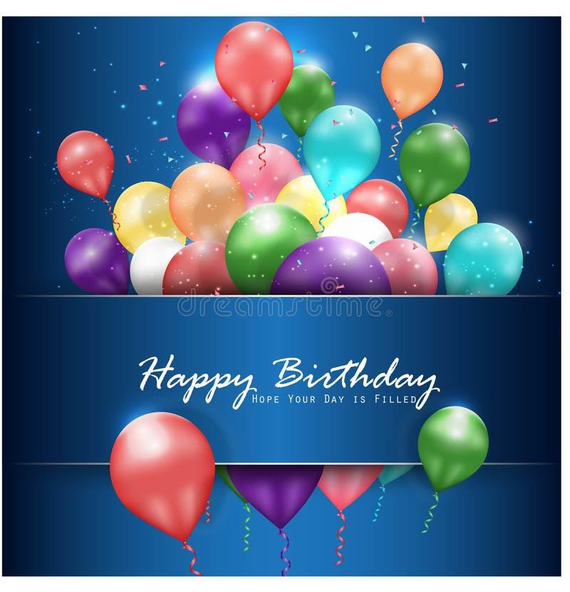 Lycklig födelsedag för färgrika ballonger på blå bakgrund royaltyfri illustrationer