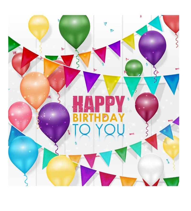 Lycklig födelsedag för färgrika ballonger på vit bakgrund vektor illustrationer