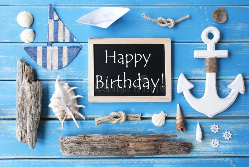 Lycklig födelsedag för för Nautic svart tavla och text royaltyfri bild