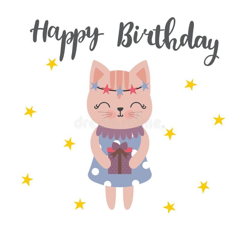 Lycklig födelsedag för gullig vykort med älskvärd pott och gåvan Söt bakgrund med stjärnor vektor illustrationer