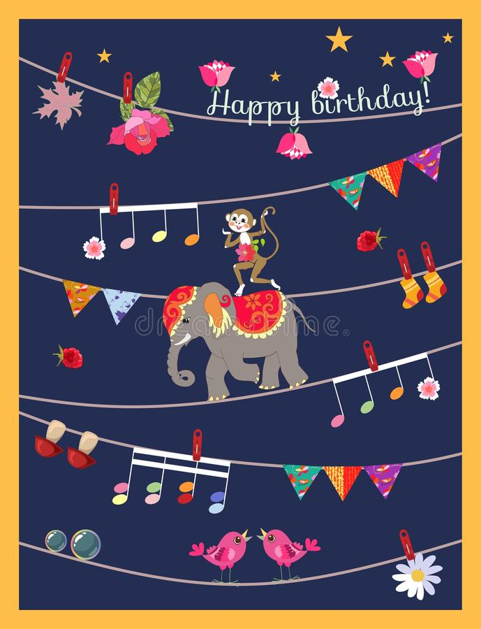 Lycklig födelsedag för hälsningkort med den gulliga tecknad filmapan på elefant, girlanden med musikaliska anmärkningar, fåglar,  royaltyfri illustrationer