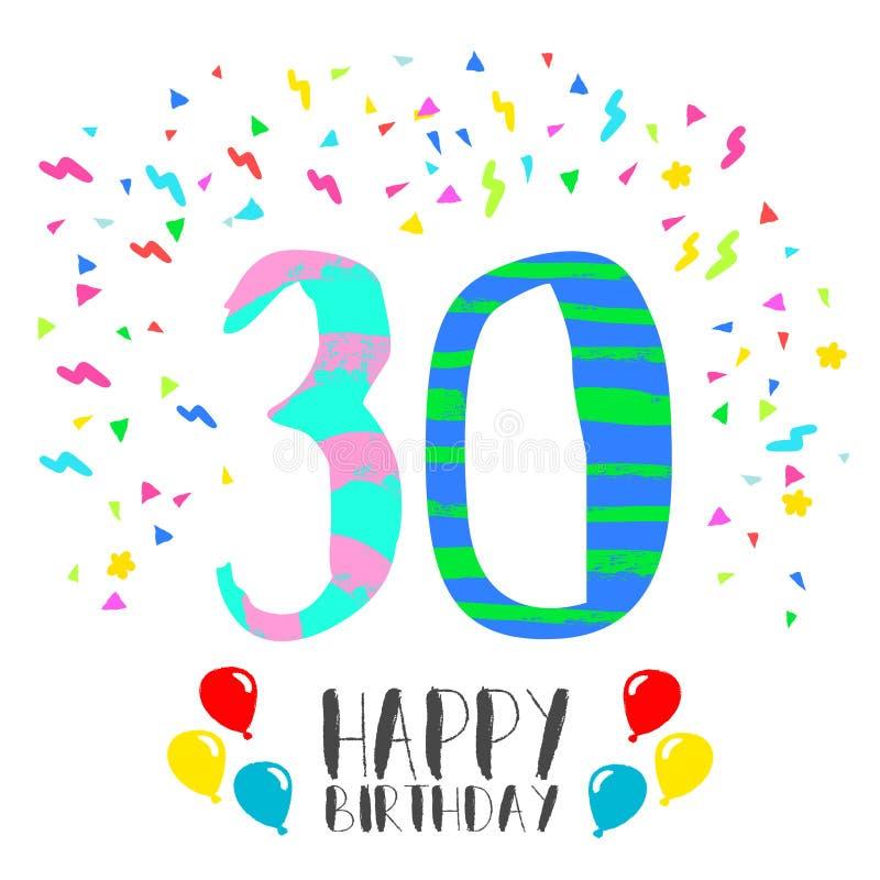 30 år födelsedag Lycklig Födelsedag För Kort För 30 år Partiinbjudan Vektor  30 år födelsedag