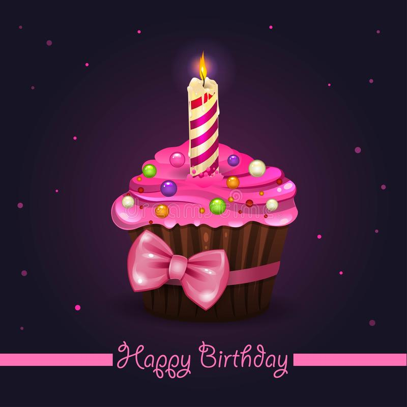 Lycklig födelsedag för muffin stock illustrationer