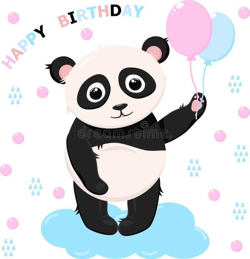 Lycklig födelsedag för panda - vektor, illustration, eps stock illustrationer
