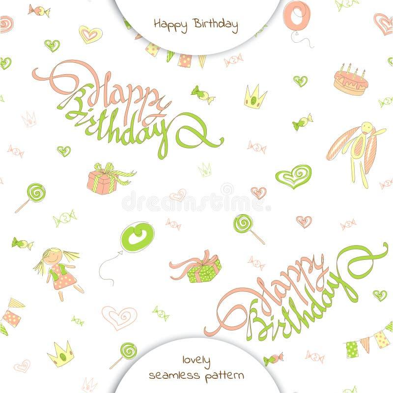 Lycklig födelsedag för sömlös modell i klotterstil vektor illustrationer