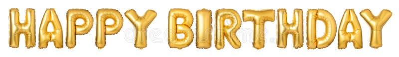 LYCKLIG FÖDELSEDAG för stora bokstäver från guld- ballonger royaltyfri fotografi