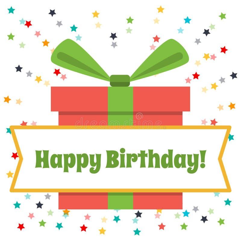 Lycklig födelsedag för vektorhälsningkort Stora gåvaask och fyrverkerier av kulöra stjärnor royaltyfri illustrationer