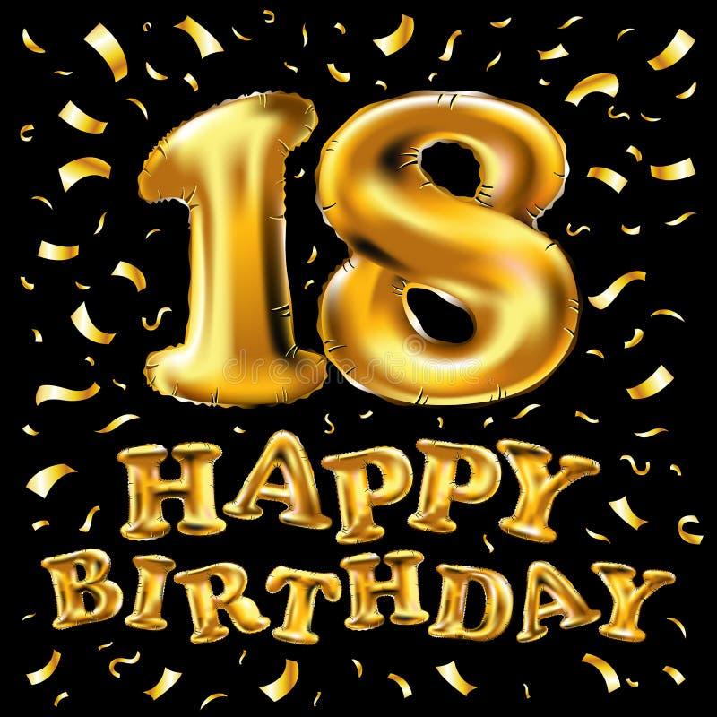 Lycklig födelsedag för vektorillustration, lyxig design för guld- textur, på tillfället av 18 årsdag, designbeståndsdel för desig royaltyfri illustrationer