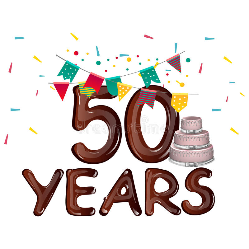 Lycklig födelsedag femtio 50 år royaltyfri illustrationer
