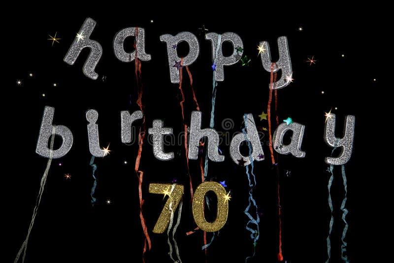 Lycklig födelsedag 70 gamla år fotografering för bildbyråer