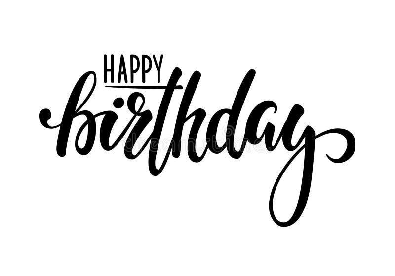 lycklig födelsedag Hand dragen kalligrafi och borstepennbokstäver planlägg för feriehälsningkort och inbjudan av baby shower, bi royaltyfri illustrationer