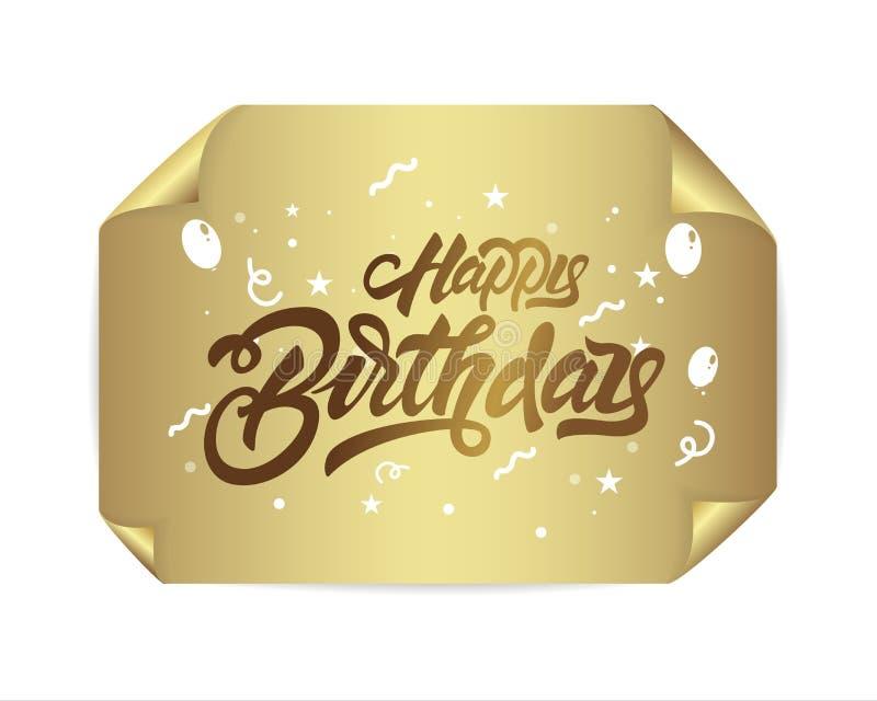 Lycklig födelsedag, i att märka stil på guld- realistiskt papper Handskriven modern borstebokst?ver Duva som symbol av f?r?lskels vektor illustrationer