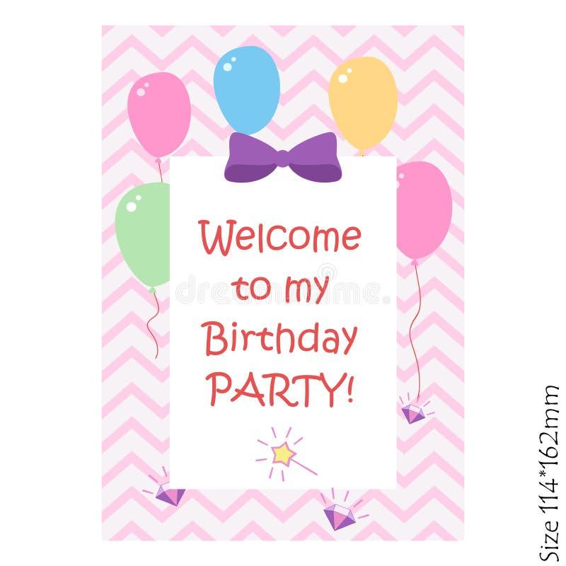 Lycklig födelsedag, inbjudanberömparti En magisk inskrift på en rosa bakgrund med ballonger Glädje lycka, barn royaltyfri illustrationer