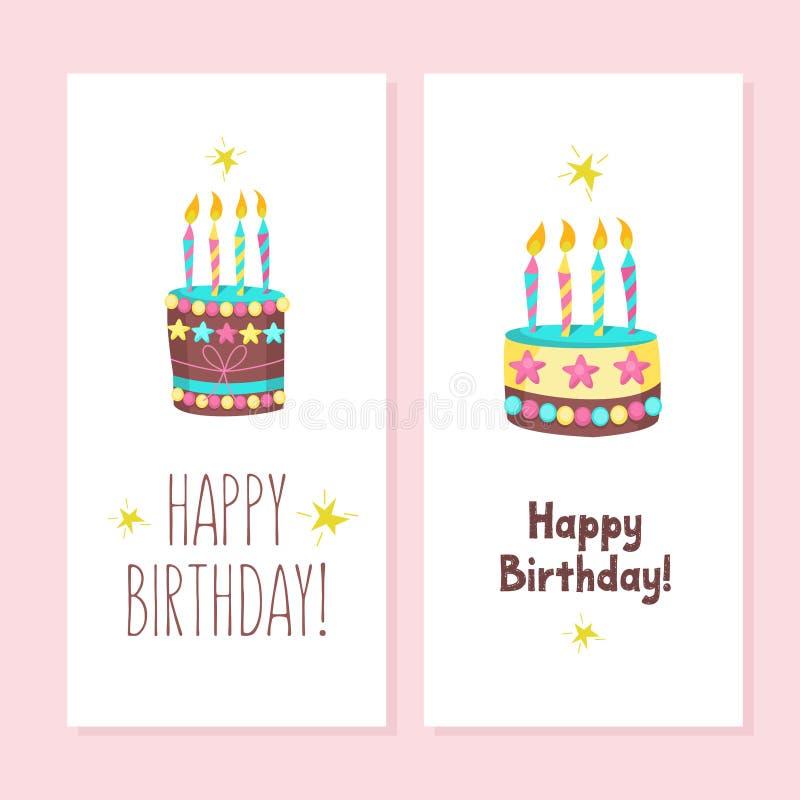 lycklig födelsedag Kakorna och bakelserna royaltyfri illustrationer