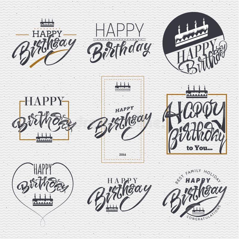 Lycklig födelsedag - kortet, klistermärke kan vara van vid designwebsites, kläder vektor illustrationer
