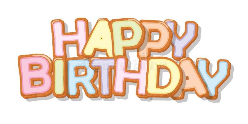 lycklig födelsedag Ljusbrun drog bokstäver för tecknad film hand Gullig design för ungar i pastellfärgade färger För hälsningkort royaltyfri illustrationer