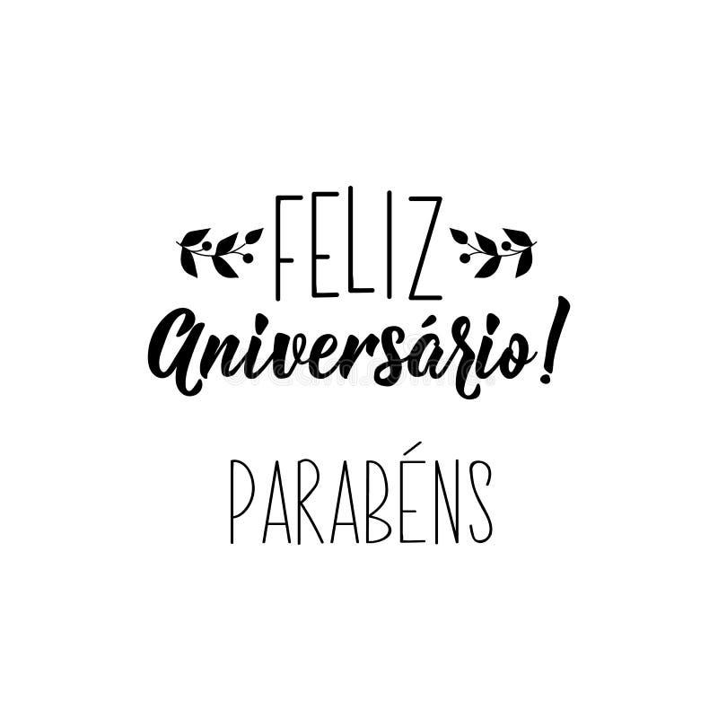 lycklig födelsedag Lyckönskan i portugis Färgpulverillustration med hand-dragen bokstäver Feliz Aniversario Parabens royaltyfri illustrationer