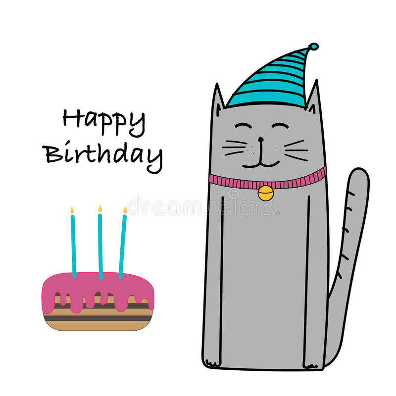 Lycklig födelsedag med Cat And Cake Card vektor illustrationer