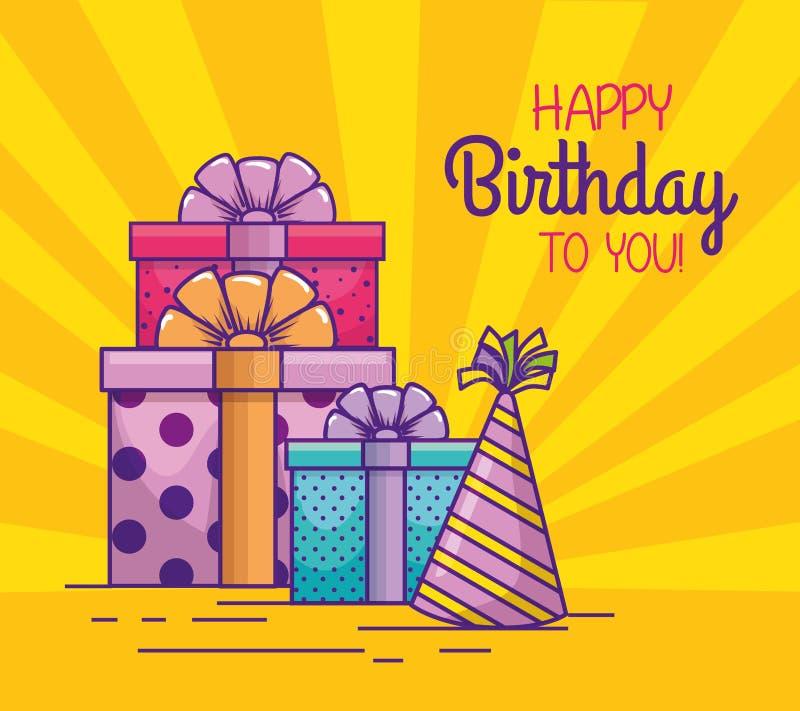 Lycklig födelsedag med gåvor och partihattar royaltyfri illustrationer