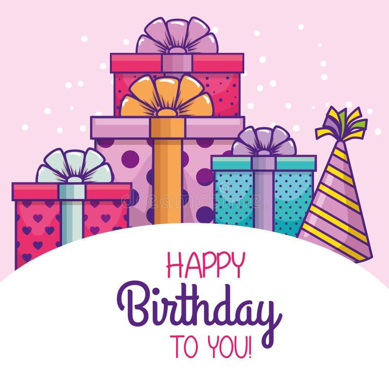 Lycklig födelsedag med partihatten och gåvor royaltyfri illustrationer