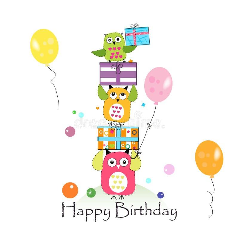 Lycklig födelsedag med ugglor och gåvaasken Behandla som ett barn illustrationen för vektorn för födelsedaghälsningkortet royaltyfri illustrationer
