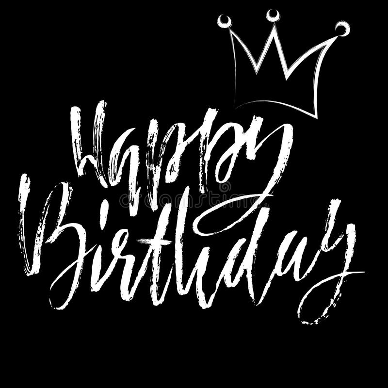 lycklig födelsedag Modernt torka borstebokstäver för inbjudan- och hälsningkort, tryck och affischer Handskriven inskrift royaltyfri illustrationer