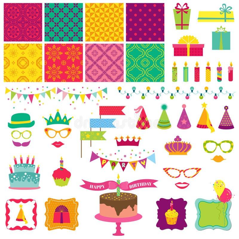 Lycklig födelsedag och partiuppsättning stock illustrationer