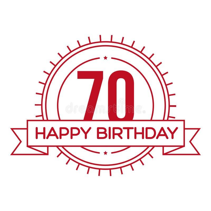 Lycklig födelsedag sjuttio år tecken royaltyfri illustrationer