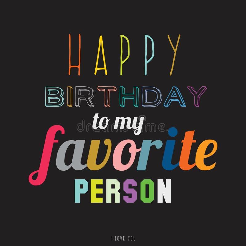 Lycklig födelsedag till den mycket speciala personen stock illustrationer