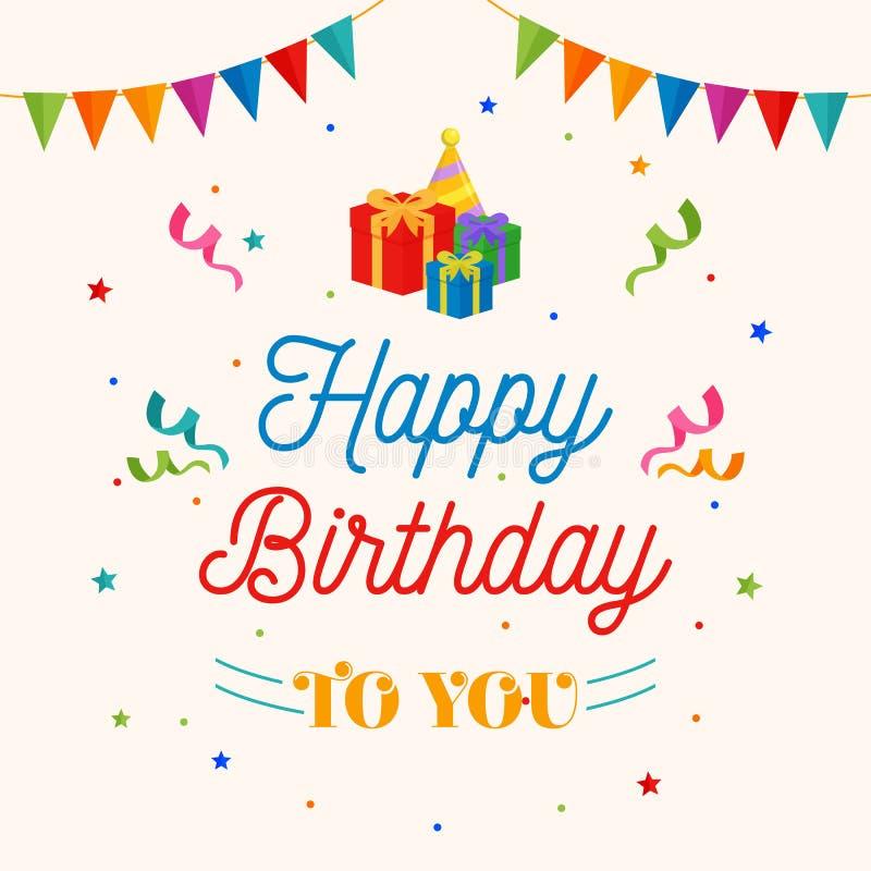 Lycklig födelsedag till dig bakgrundsvektor gåvaask, partihattillustration med flaggan och konfettiprydnad stock illustrationer