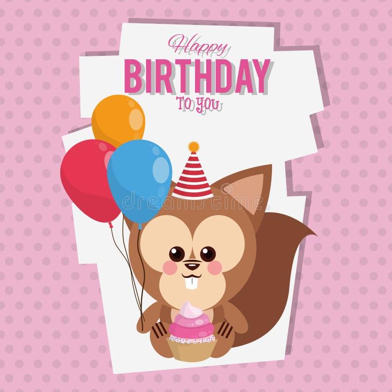 Lycklig födelsedag till dig ekorretecknad film stock illustrationer