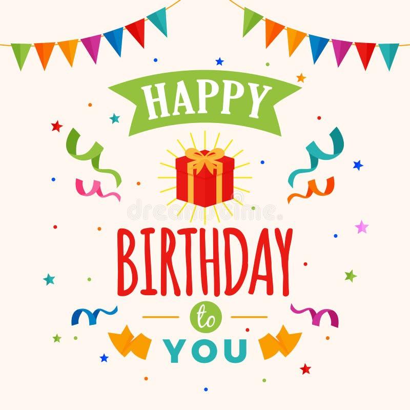 Lycklig födelsedag till dig kortvektor illustration för gåvaask med partiflaggan och konfettiprydnaden vektor illustrationer