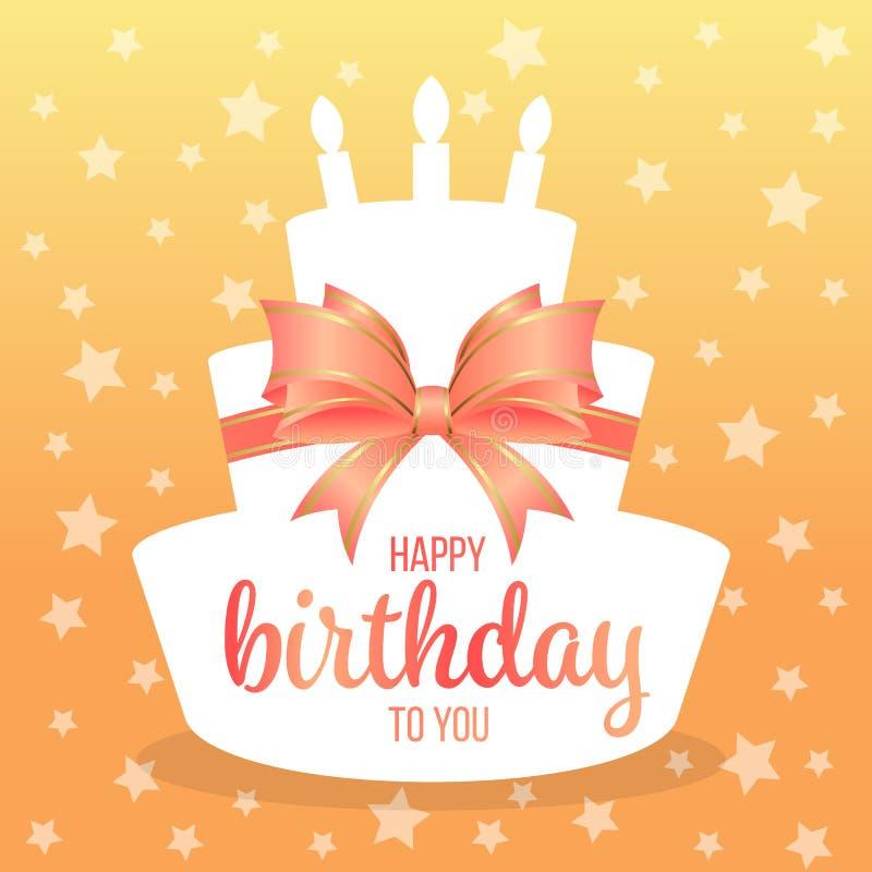 Lycklig födelsedag till dig med text på pilbåge för vitbokkakaform och för söt apelsin och design för stjärnabakgrundsvektor vektor illustrationer