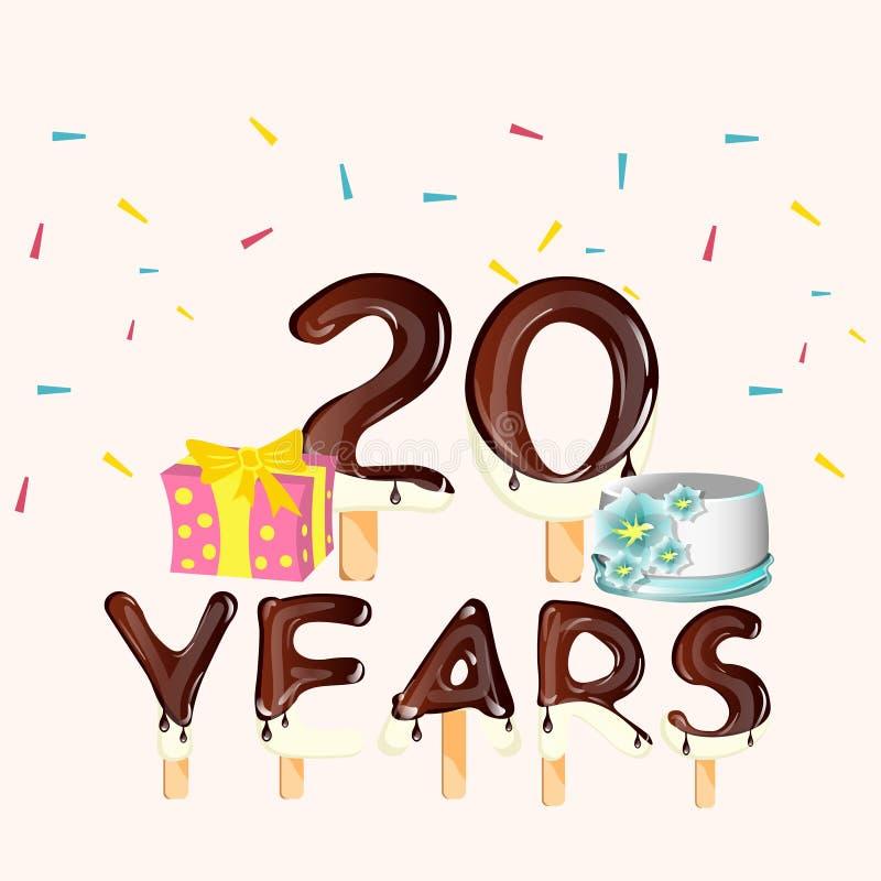 20 års kort Lycklig Födelsedag Tjugo 20 år Kort Med Nummer Vektor  20 års kort