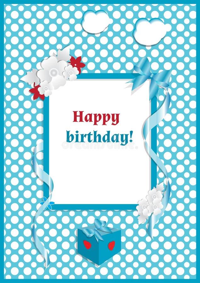 Lycklig-Födelsedag-typografi-vektor-design-för-hälsning-kort-och-affisch-med-pilbåge - blommor, - band-på-blått-ärta-bakgrund royaltyfri illustrationer