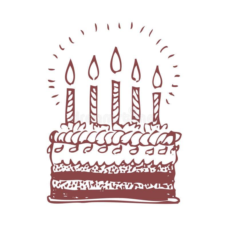 lycklig födelsedagcake vektor illustrationer