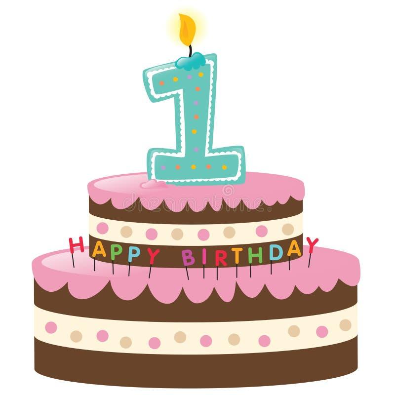 lycklig födelsedagcake först stock illustrationer