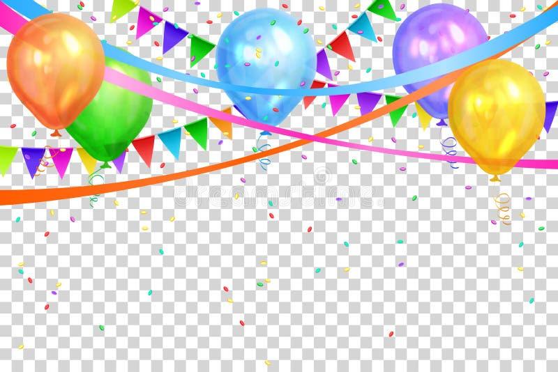 lycklig födelsedagdesign Färgrika ballonger och flaggagirlander royaltyfri illustrationer