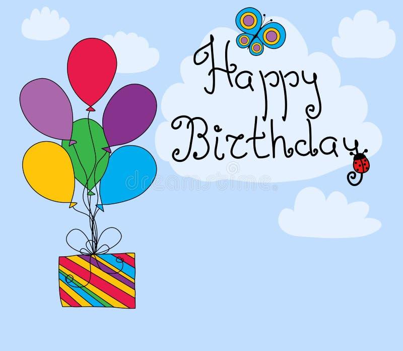 lycklig födelsedagkorthälsning royaltyfri illustrationer