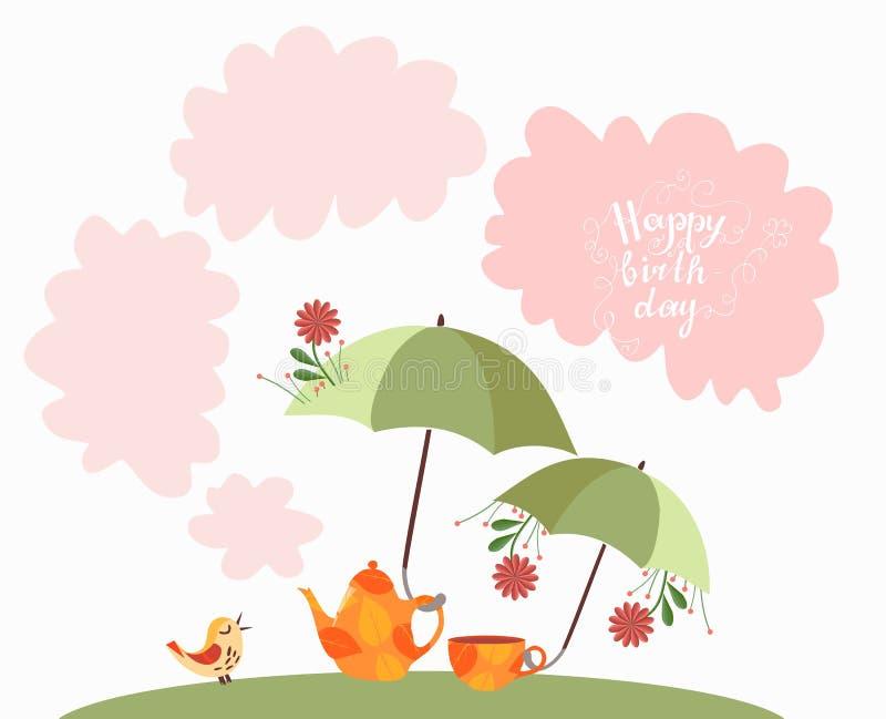 lycklig födelsedagkorthälsning Den gulliga den tecknad filmtekannan och tekoppen med paraplyer och blommor, den lilla fågeln och  stock illustrationer