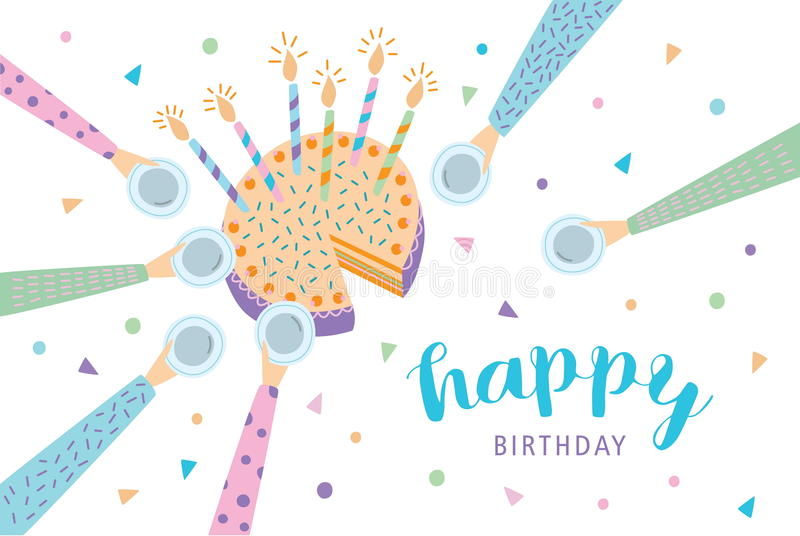 lycklig födelsedagkorthälsning Festlig kaka med stearinljus Vektorillustration, tecknad filmvykort vektor illustrationer