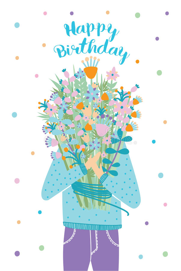 lycklig födelsedagkorthälsning Gäst med blommabuketten Vektorillustration, tecknad filmvykort stock illustrationer