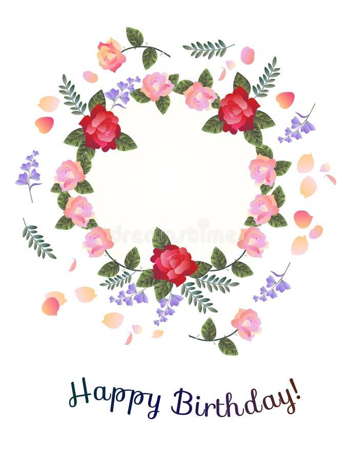 lycklig födelsedagkorthälsning Härlig blom- krans med röda och rosa rosor, klockablommor och kronblad vektor illustrationer