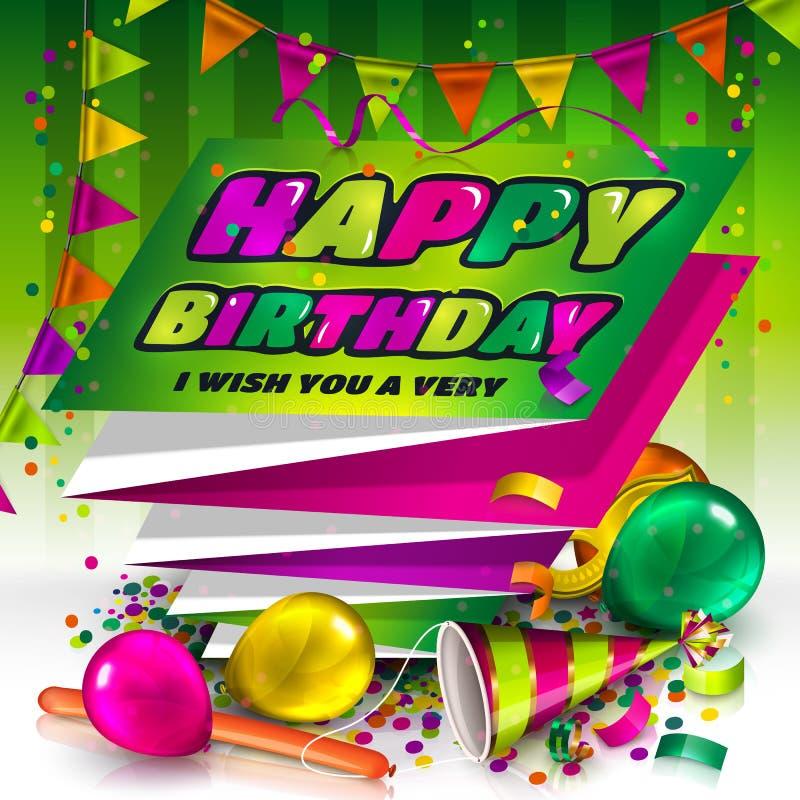lycklig födelsedagkorthälsning Text på vikt munspelpapper Färgrika ballonger, hatt, karnevalmaskering, konfetti och vektor illustrationer