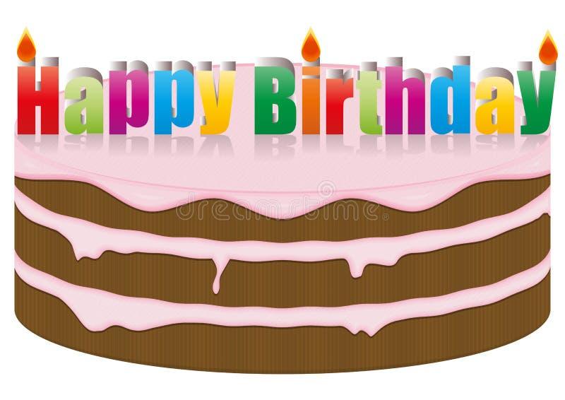 Lycklig födelsedagtårta stock illustrationer