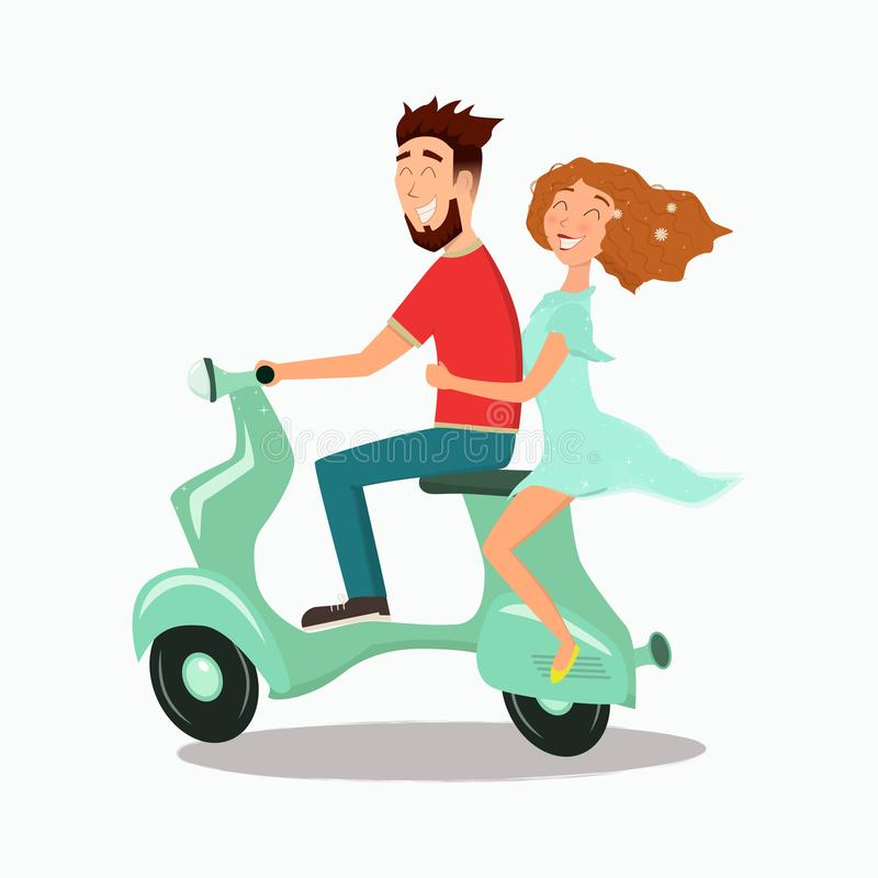 Lycklig förälskad ridning för man och för kvinna en sparkcykel vektor illustrationer