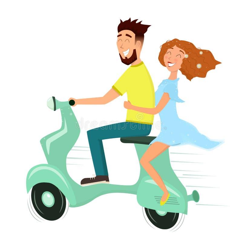 Lycklig förälskad ridning för man och för kvinna en sparkcykel stock illustrationer